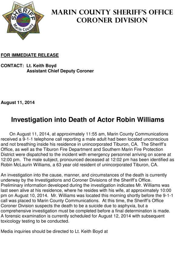 Robin Williams found dead California police confirm.